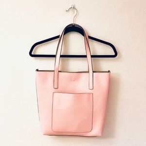 Handbags - NWOT Blush Pink Faux Pebbled Leather Tote Bag